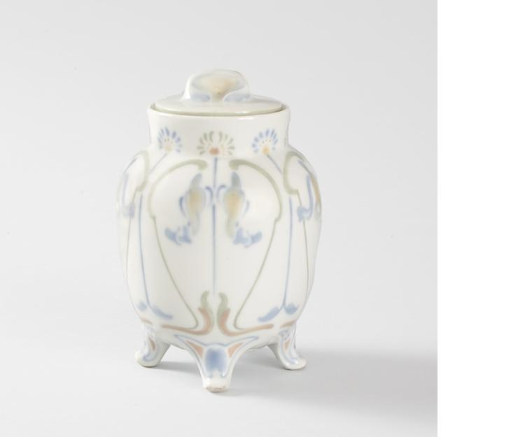 French Art Nouveau Covered Porcelain Jar by de Feure
