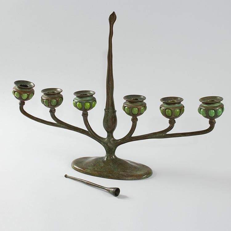 Art Nouveau Bronze and Favrile Glass Table Candelabrum by Tiffany.