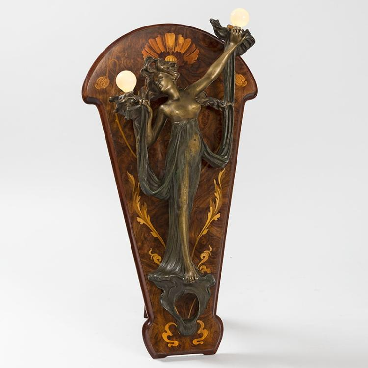 Bronze Nude lighted Sconce on Marquetry Easel by Georges Flamand