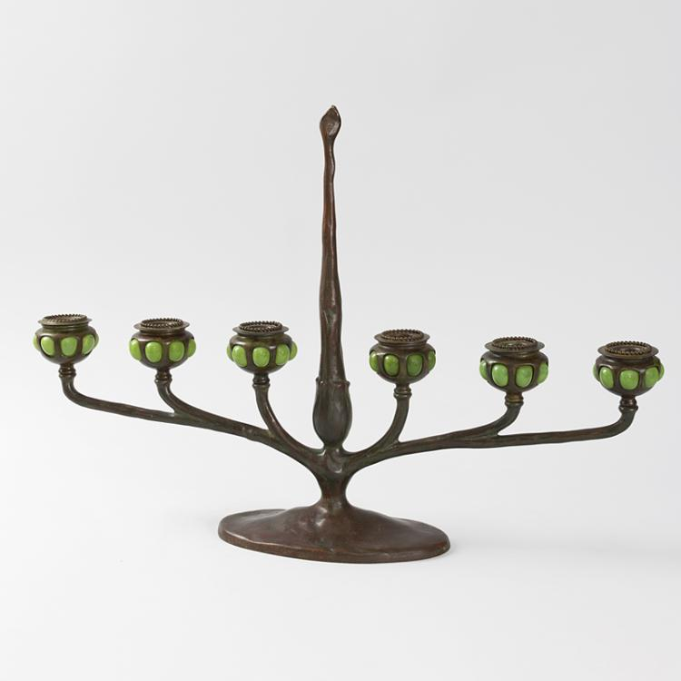 Art Nouveau Bronze and Favrile Glass Table Candelabrum by Tiffany