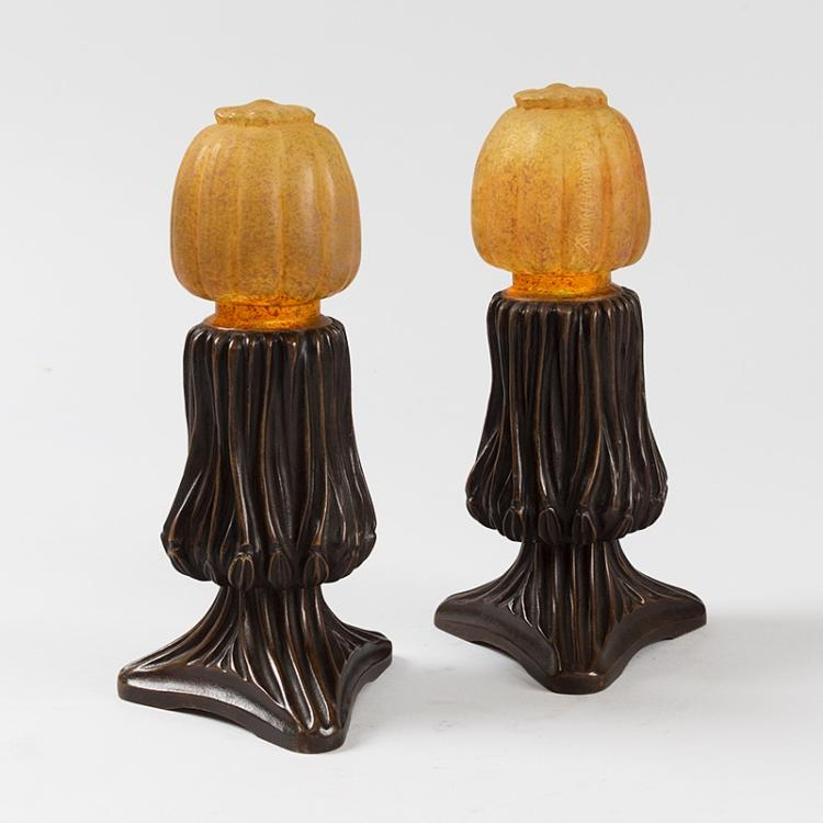 Art Nouveau Glass and Bronze Table Lamps by Daum and Majorelle