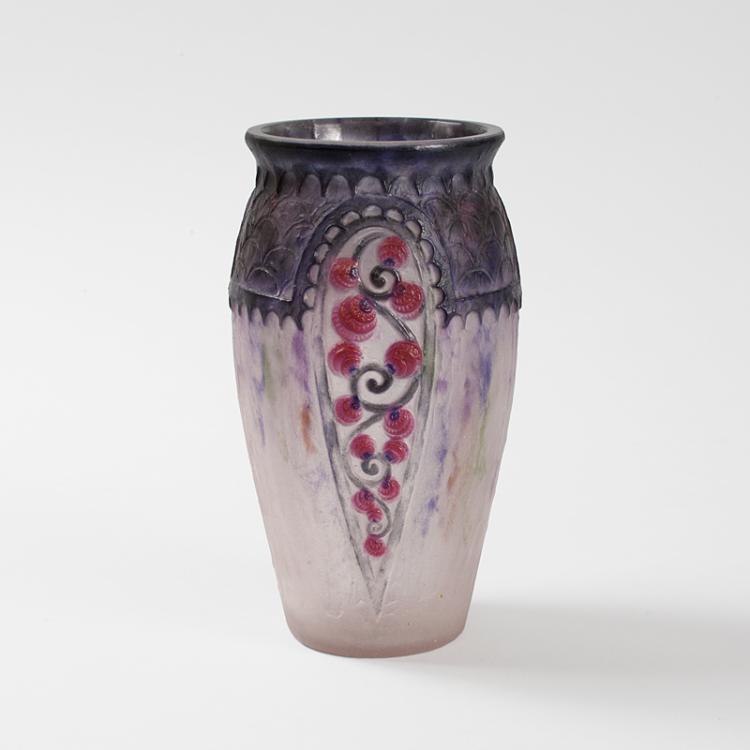 French Art Nouveau pâte-de-verre Vase, titled