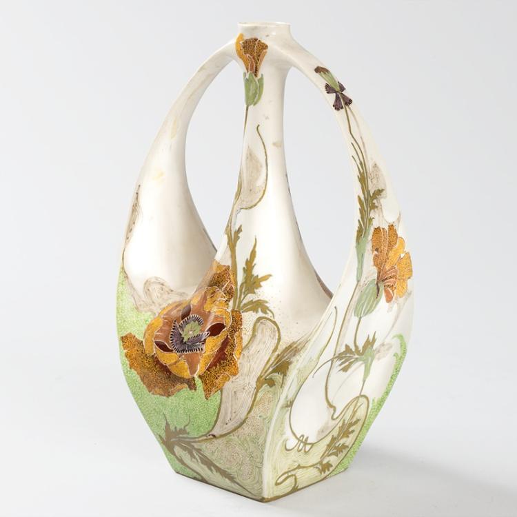 Dutch Jugendstil Porcelain Vase by Samuel Schellink for Rozenburg