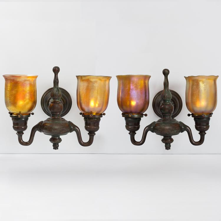 Tiffany Studios New York Double Arm Wall Sconces