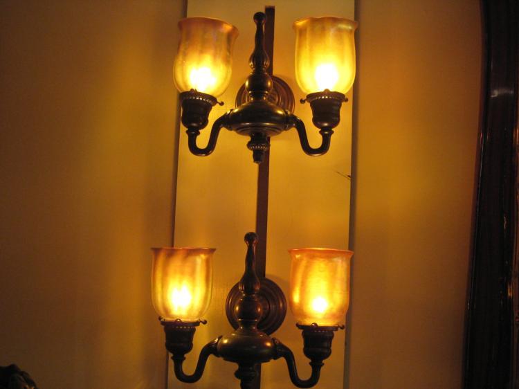 Tiffany Double Wall Lights : Tiffany Studios New York Double Arm Wall Sconces