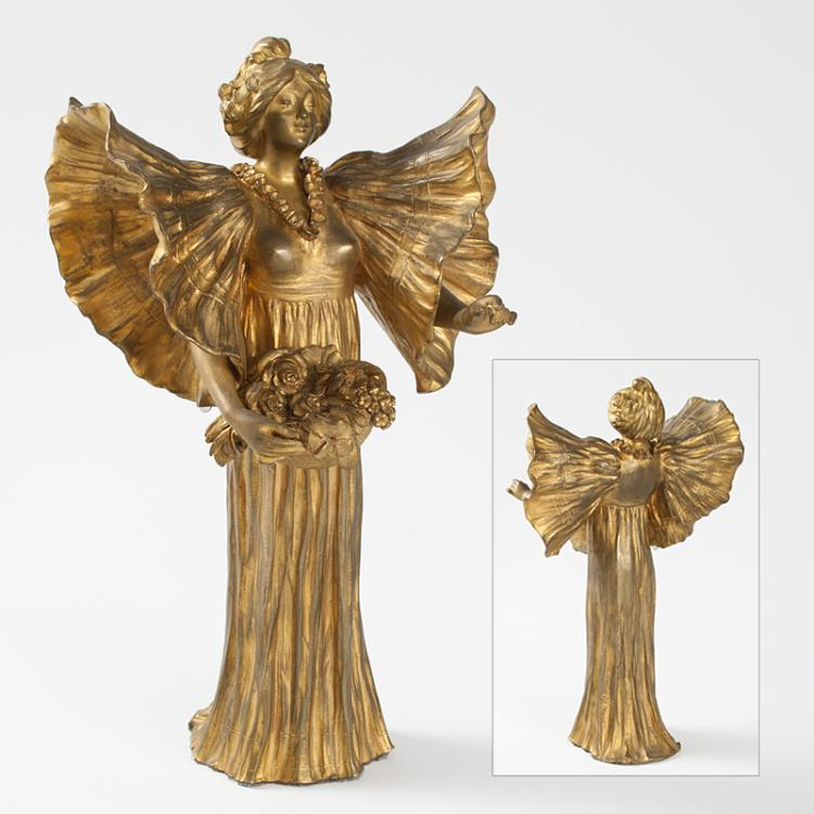 French Art Nouveau Gilt Bronze Sculpture by Wante