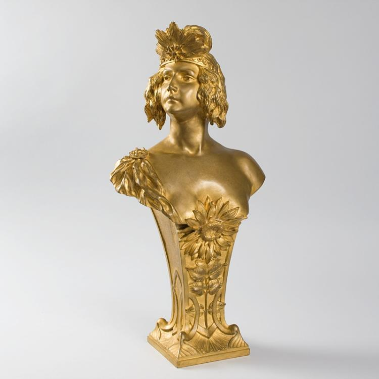 French Art Nouveau Bronze Bust by Chalon
