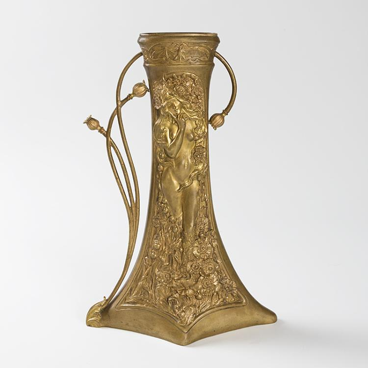 French Art Nouveau Bronze Vase by Korschann