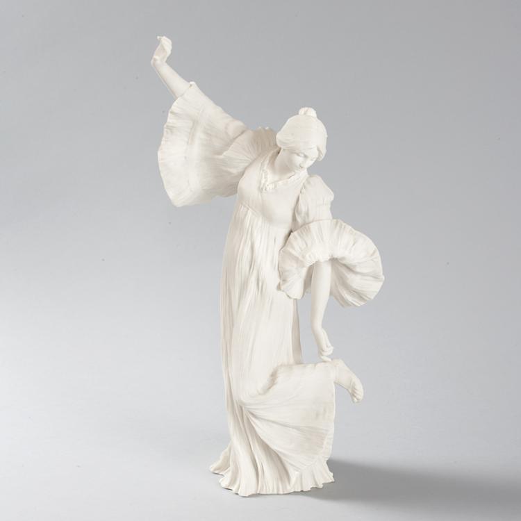 Art Nouveau Bisque Ceramic Sculpture by Agathon Leonard titled