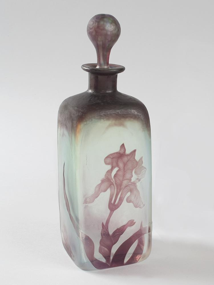 French Art Nouveau Wheel Carved Cameo Glass Bottle