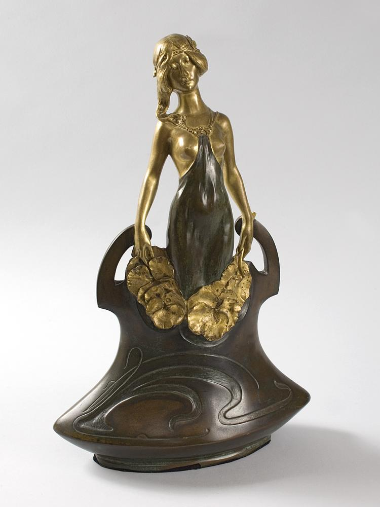 French Art Nouveau Bronze Vase by Charles Korschann