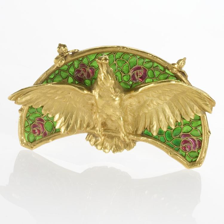 Art Nouveau Gold and Plique-à-Jour Enamel Brooch