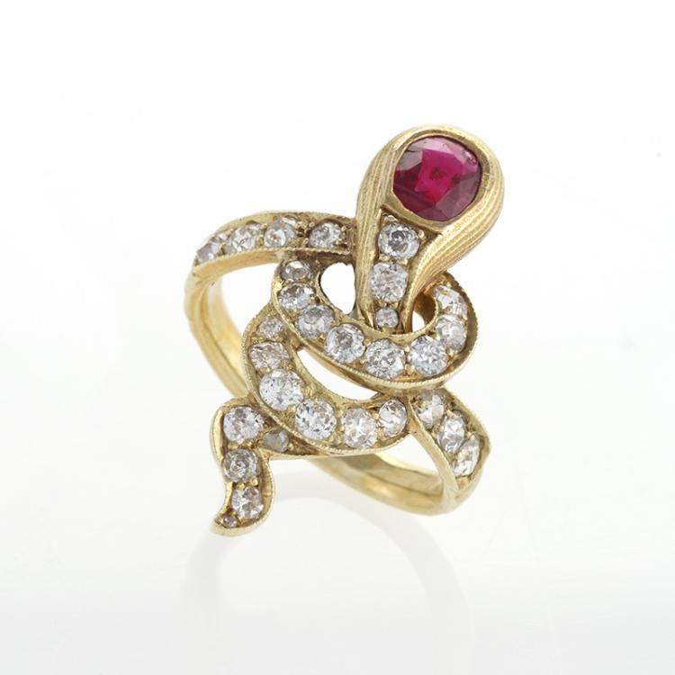 Antique Russian Ruby, Diamond and Gold Serpent Ring