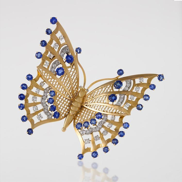 Mauboussin Art Deco Diamond, Sapphire and Gold Butterfly Brooch