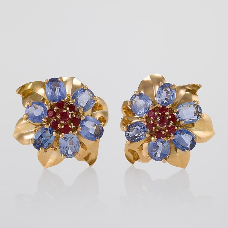 Dutch Mid-20th Century Ruby, Sapphire and Gold Earrings
