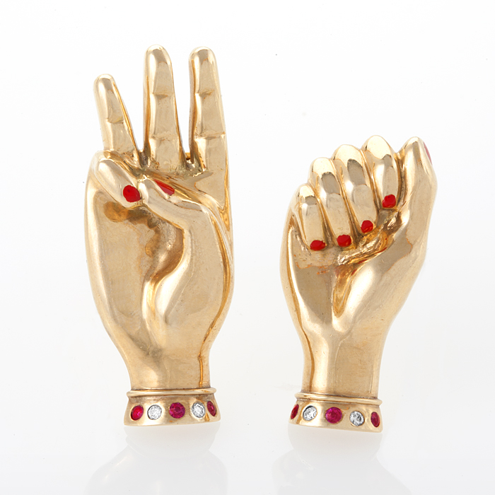 Pair of Retro Sign Language Brooches by Paul Flato
