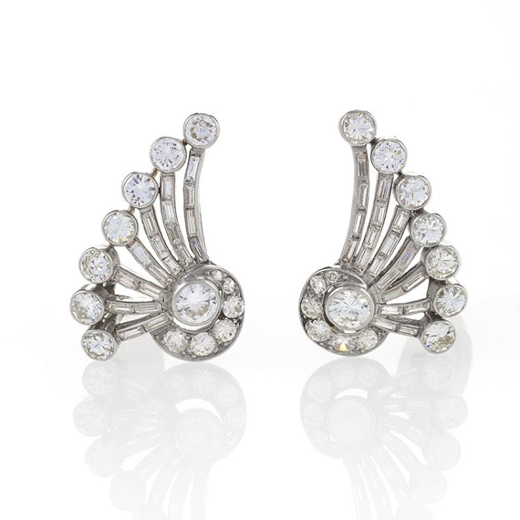 French Mid-Century Diamond and Platinum Earrings
