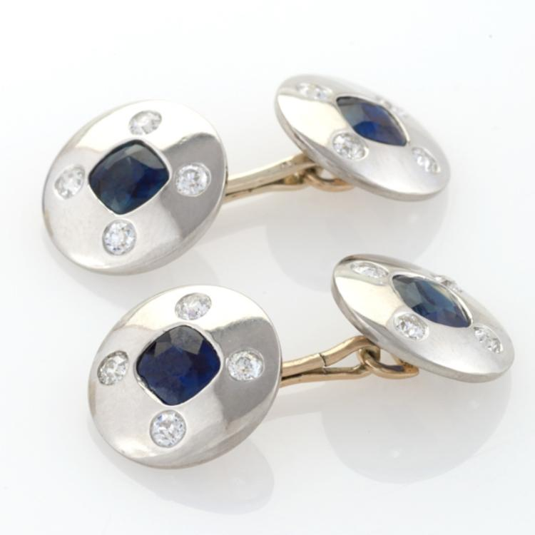 Art Deco Diamond, Blue Sapphire and Platinum and Gold Double-Sided Cuff Links