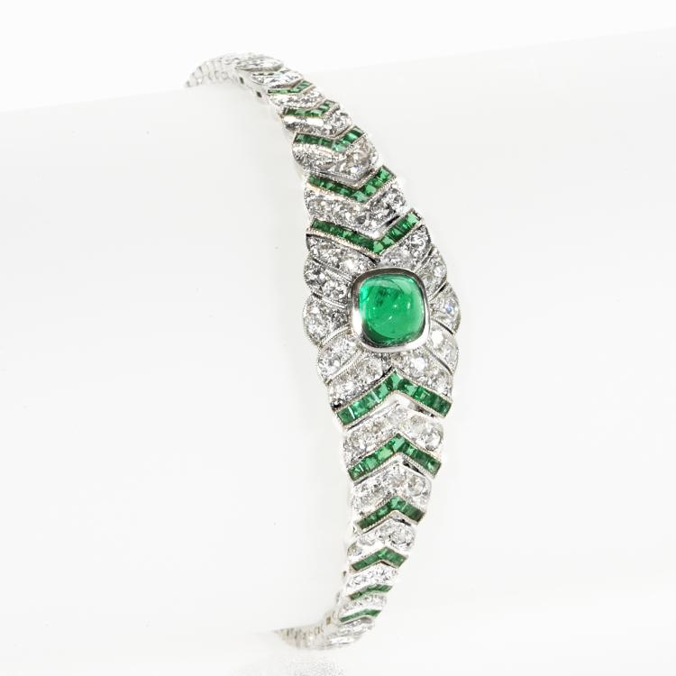 Art Deco Diamond, Emerald and Platinum Bracelet