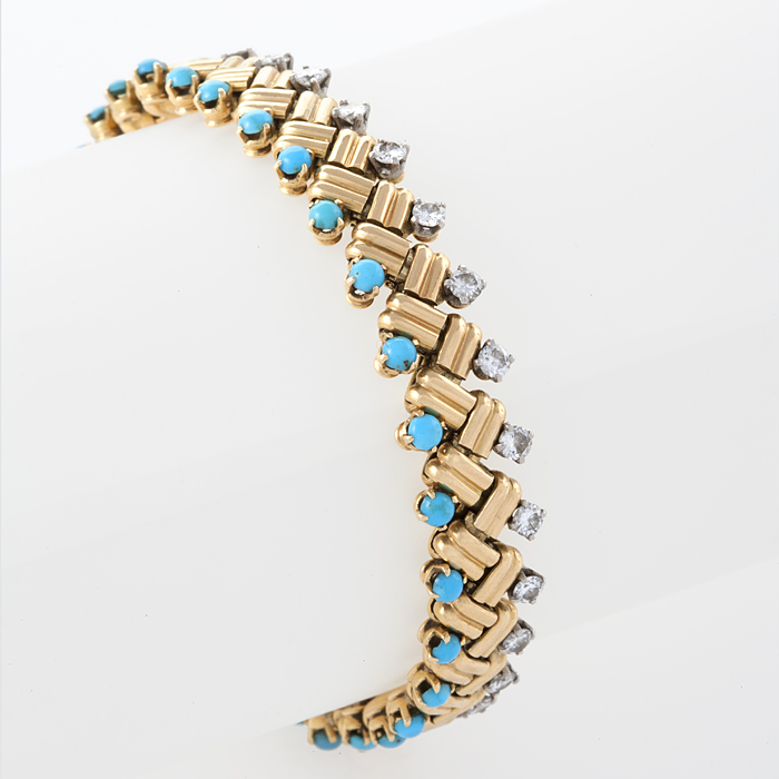 Van Cleef & Arpels Turquoise, Diamond and Gold Bracelet