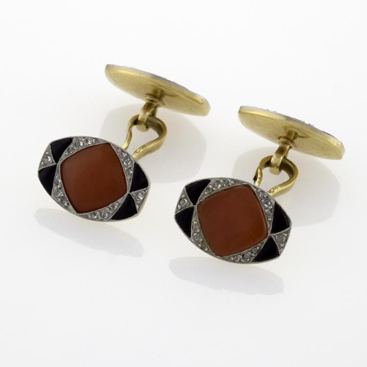 French Art Deco Coral, Onyx and Diamond Cuff Links