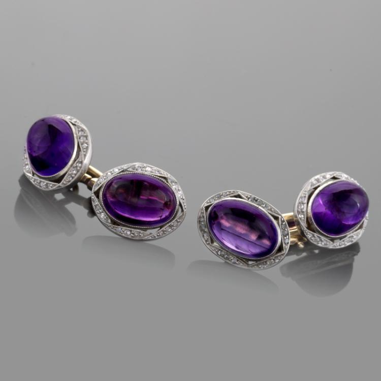 English Edwardian Platinum, Gold, Diamond and Amethyst Cuff Links