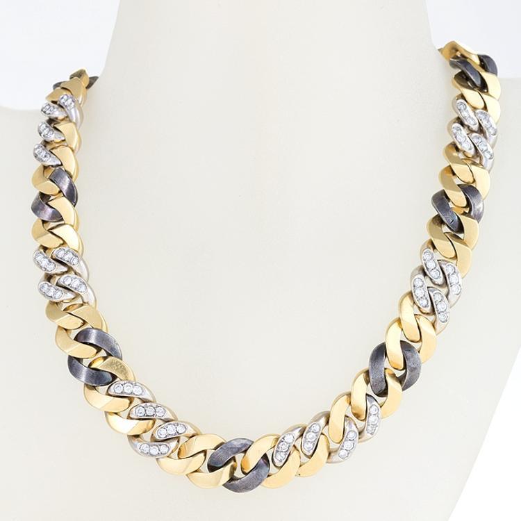 Bulgari Late-20th Century Diamond, Gold and Gun Metal Necklace