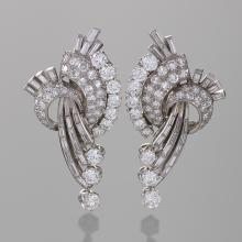 French Mid-20th Century Diamond and Platinum Earrings