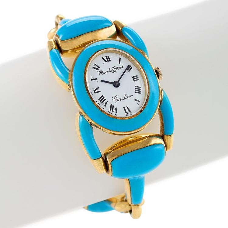 Cartier-Beuche Girod Mid-20th Century Gold and Enamel Stirrup Watch