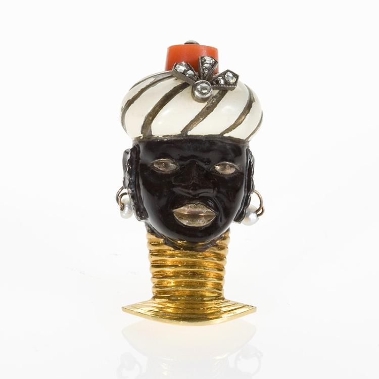 French Art Deco Blackamoor Clip Brooch by Cartier