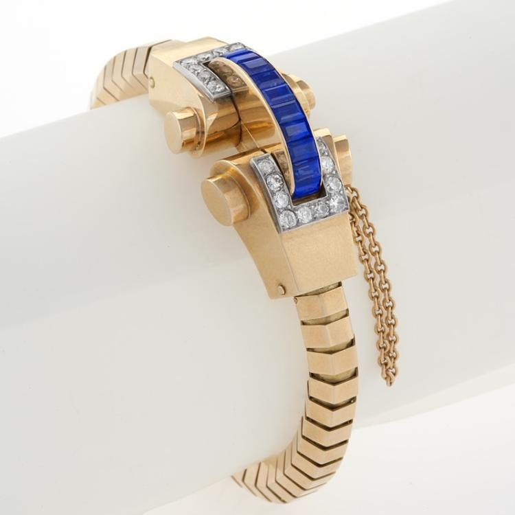 Boucheron French Retro Blue Sapphire, Diamond and Gold Bracelet
