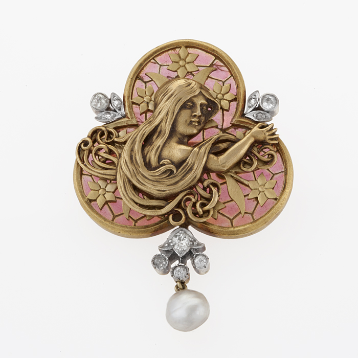 An Art Nouveau Plique A Jour,  Diamond, and Pearl Brooch