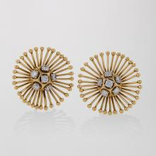 Cartier Paris Mid-20th Century Diamond and Gold Earrings