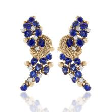 Marchak Mid-Century Blue Sapphire, Diamond and Gold Earrings