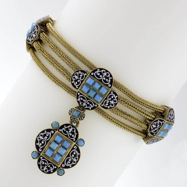 French Antique Turquoise, Enamel and Gold Locket Bracelet