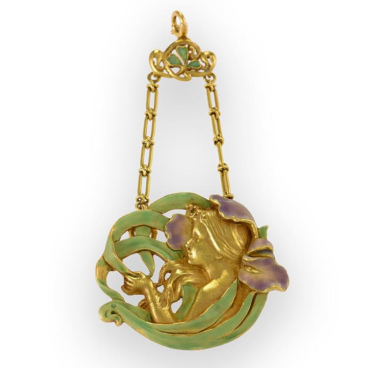 André Rambour Art Nouveau Gold and Enamel Pendant
