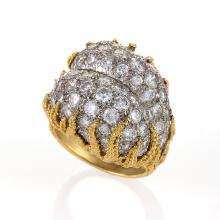 Mid-20th Century Diamond, Platinum and Gold Ring
