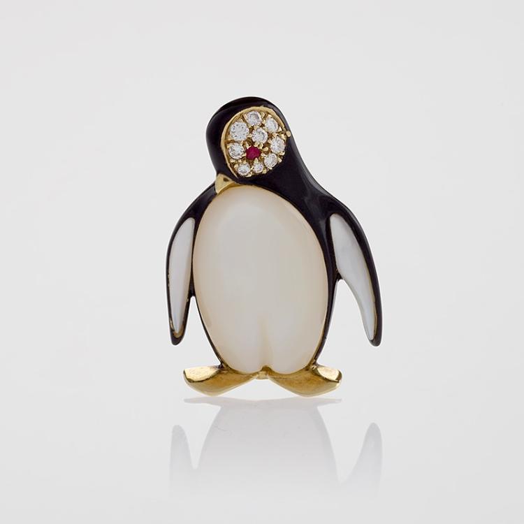 Van Cleef & Arpels Paris Diamond, Ruby and Mother of Pearl Penguin Brooch