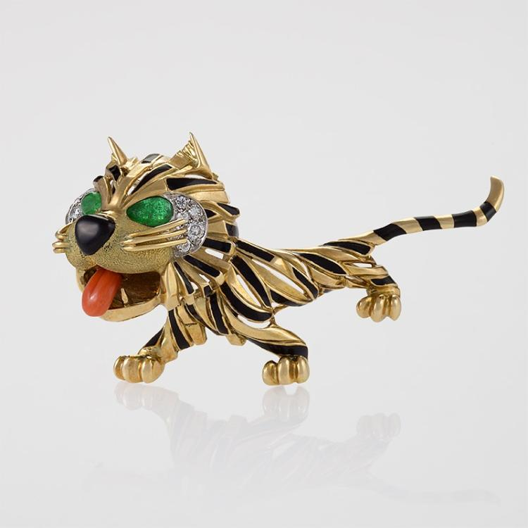 Van Cleef & Arpels Paris Mid-20th Century Diamond, Emerald, Coral, Enamel and Gold Tiger Brooch
