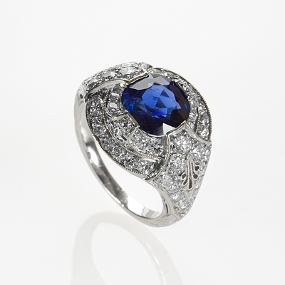 Art Deco Platinum, Sapphire and Diamond Ring