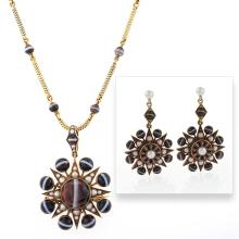 Victorian Demi-Parure of Banded Agate and Pearl
