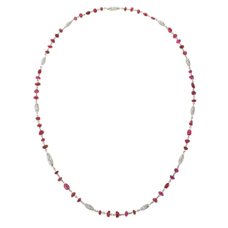 Diamond, Ruby Bead and Platinum Art Deco Necklace