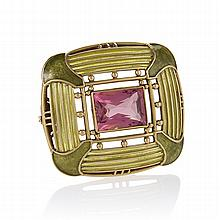 Louis Comfort Tiffany Rubelite Tourmaline, Plique-a-Jour Enamel and Gold Brooch