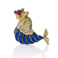 David Webb Mid-20th Century Diamond, Emerald, Ruby, Sapphire, Gold and Enamel Dolphin Brooch