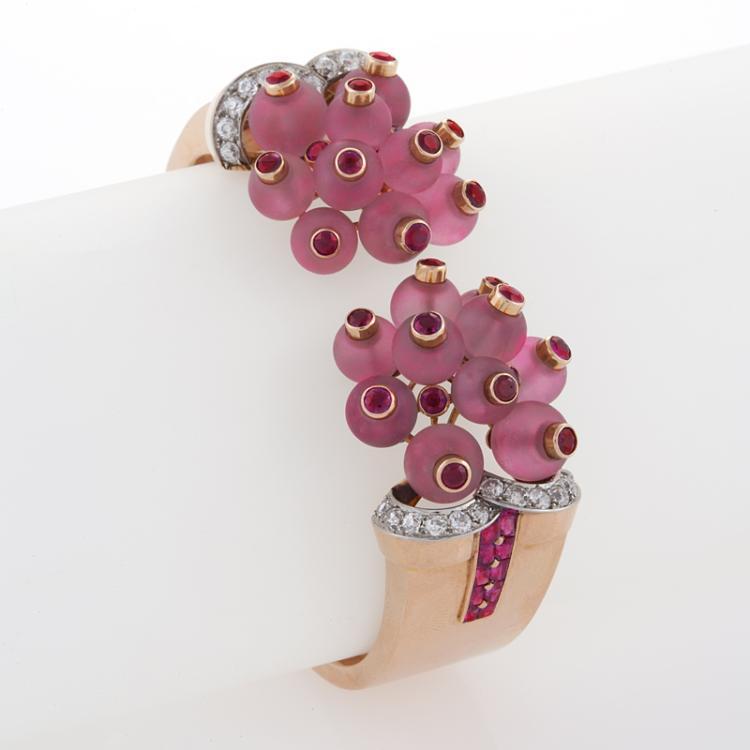 George Verger French Retro Diamond, Ruby, Rose Quartz, Platinum and Gold Bracelet