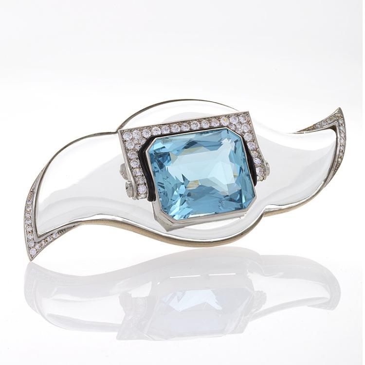 Mauboussin Art Deco Diamond, Aquamarine, Rock Crystal and Platinum Brooch