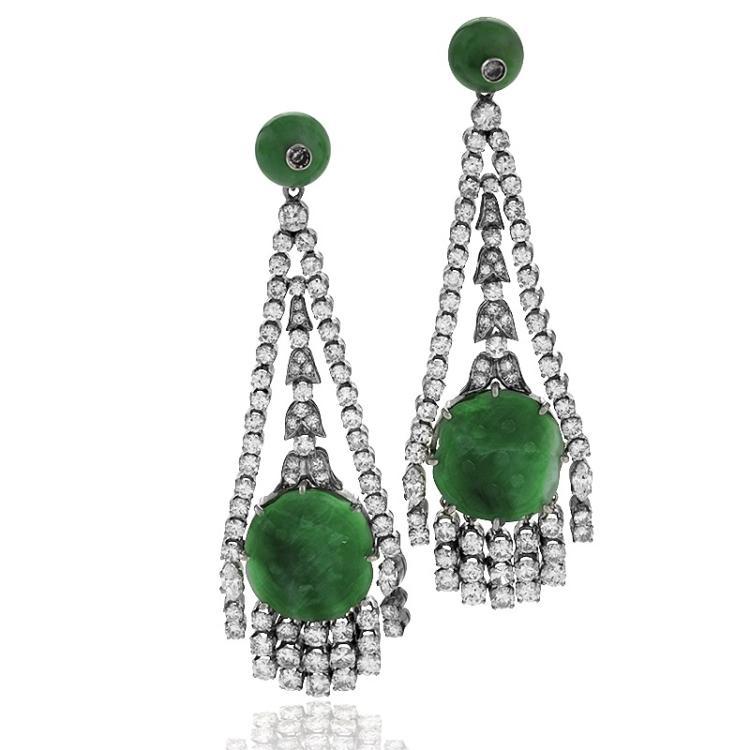 Art Deco Diamond, Jadite Jade and Platinum Earrings