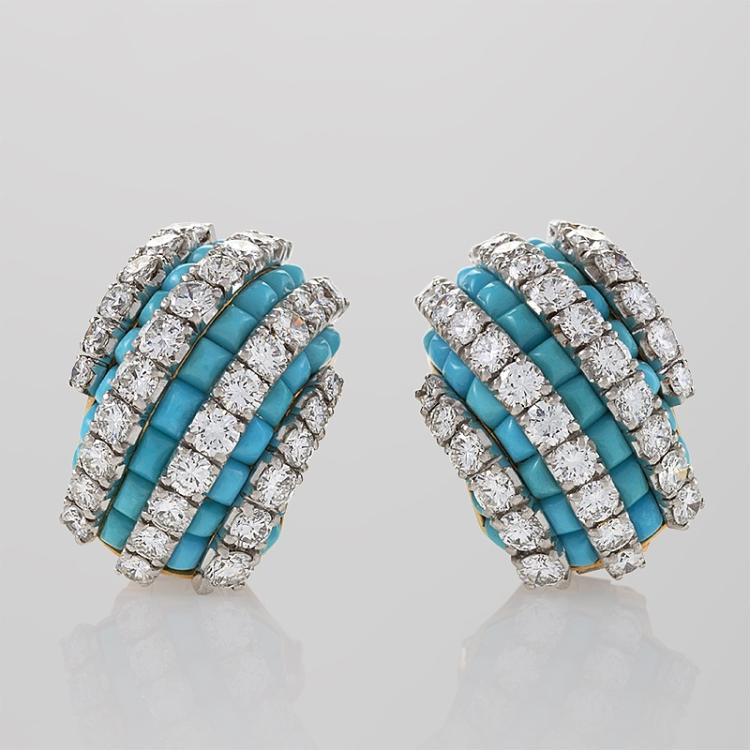 Van Cleef & Arpels Mid-20 Century Diamond, Turquoise, Platinum and Gold Earrings