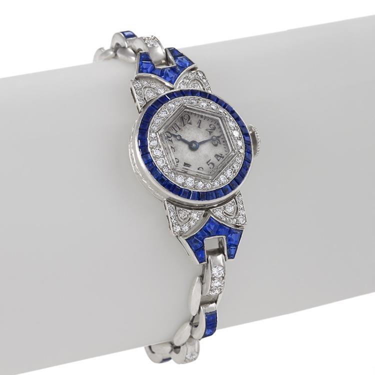 Oscar Heyman Art Deco Diamond, Sapphire and Platinum Watch