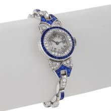 Oscar Heyman Art Deco Diamond, Sapphire and Platinum Watch
